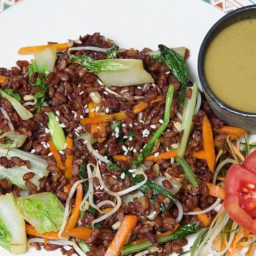 Delicious Nasi Goreng. Pure vegan, only red rice and vegetables