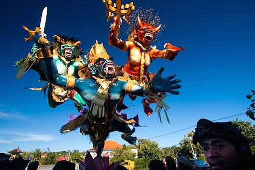 Bali Ogoh-Ogoh demon statues on Nyepi in Pecatu