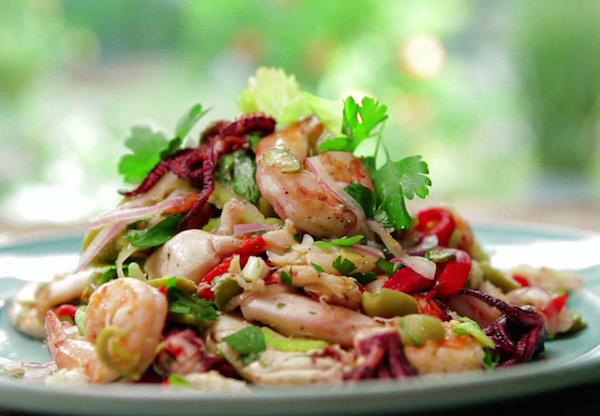 Seafood salad with herbs.